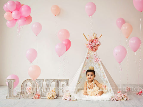 Digital Backdrop for sitters - LOVE Floral Teepee with Balloons