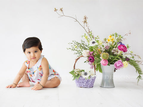 Sitter Digital Backdrop - Simple Spring Flowers on a white background