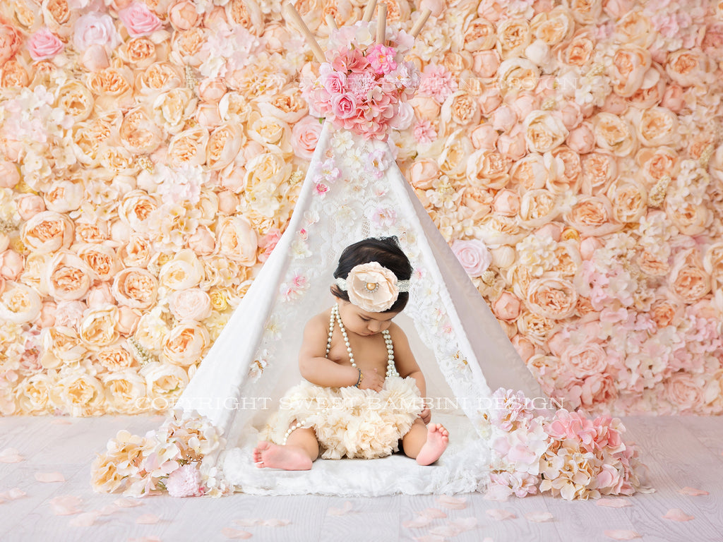 Digital Backdrop for Sitters, Little White Teepee against a beautiful peachy flower wall