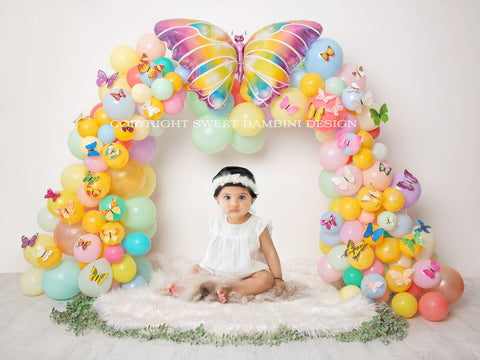 Easter Digital Backdrop - Balloon Arch with Butterflies, Instant Download ready for you to edit