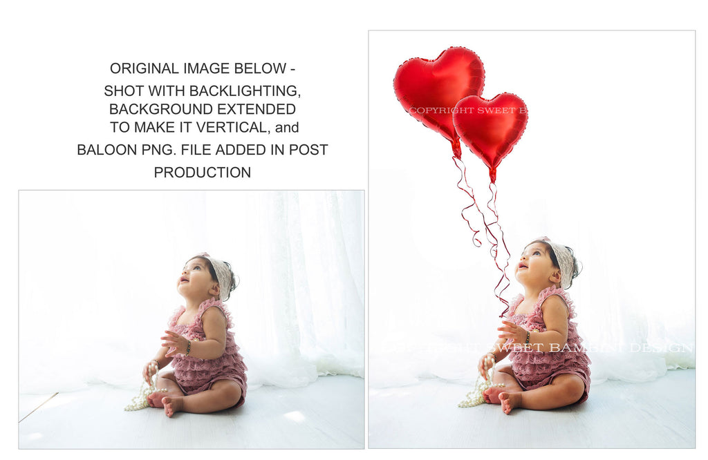 Heart shaped balloons - Valentines Day Digital Backdrop for sitting babies - Balloon Cut Outs/ Isolated heart balloons