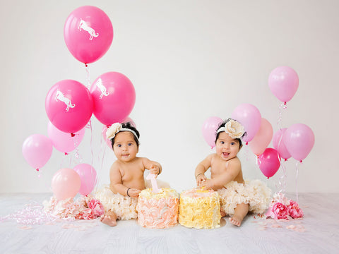 Cake smash digital backdrop - Digital Backdrop for sitting babies and older kids - Balloons and Flowers