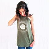 One Plane Jane Logo Tank top shown in olive green.  Round logo surrounded by a burst of dots for a feminine look.  White Ink