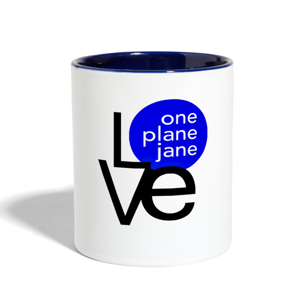 I Love My Pilot Contrast Coffee Mug - Blue - white/cobalt blue