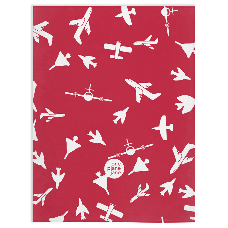 Travel Fleece Blanket - Soar in Cardinal and Plum