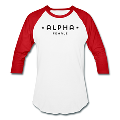 Alpha Female 3/4 Baseball Tee - white/red