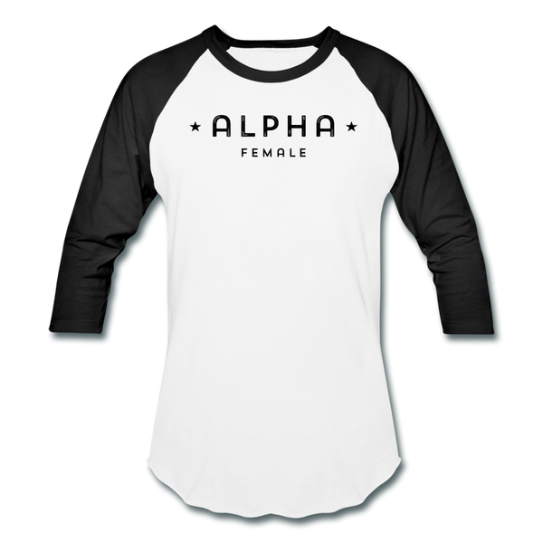 Alpha Female 3/4 Baseball Tee - white/black