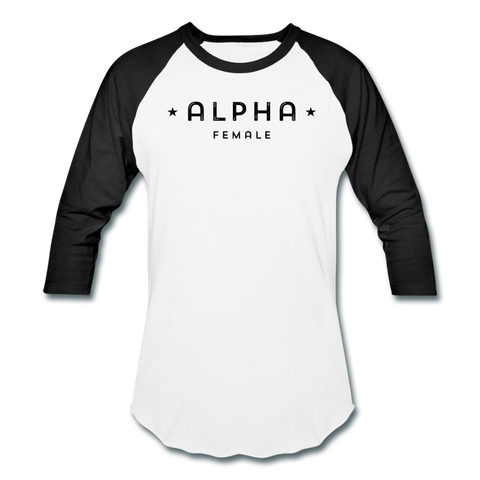 Alpha Female 3/4 Baseball Tee - white/kelly green