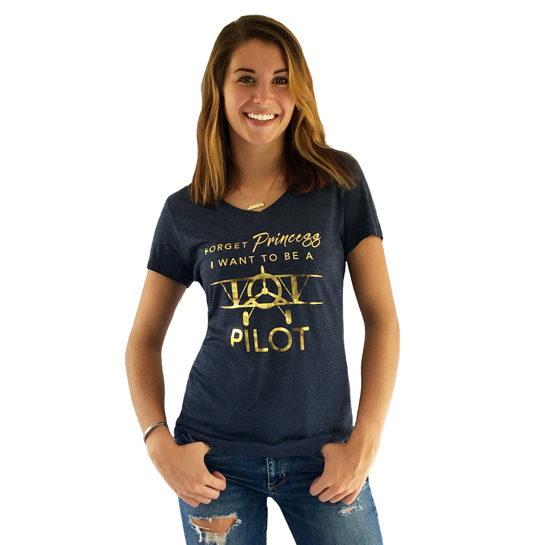 One Plane Jane Woman's Tee - Forget Princess, I want to be a pilot.  Includes a biplane and shown in navy heather blue with gold leaf printing.