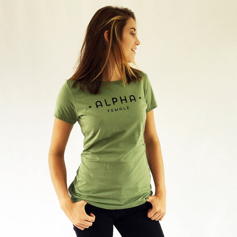 One Plane Jane Alpha Female Tee in Fatigue Green - second view. 100% Ringspun soft cotton. Inspired by pilots, aviators but perfect for all strong independent women.
