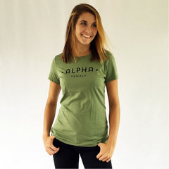 One Plane Jane Alpha Female Tee in Fatigue Green. 100% Ringspun soft cotton. Inspired by pilots, aviators but perfect for all strong independent women.