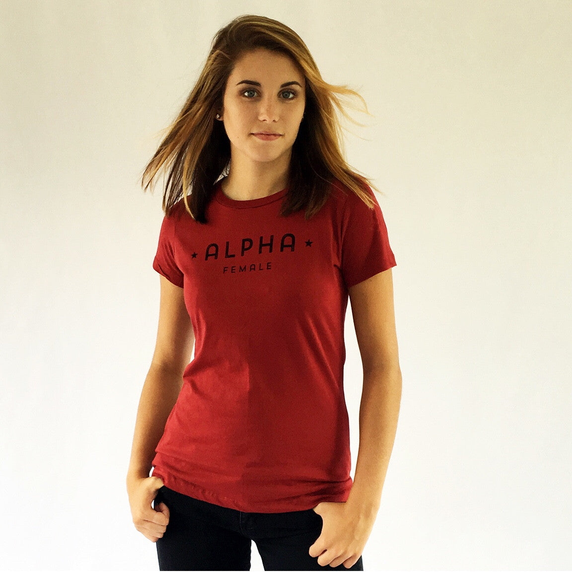 One Plane Jane Alpha Female Tee in Sangria. 100% Ringspun soft cotton. Inspired by pilots, aviators but perfect for all strong independent women.