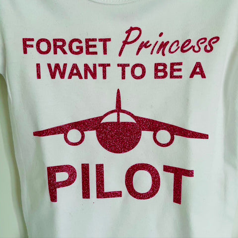 I Want to be a Pilot Onesie - Pink Glitter