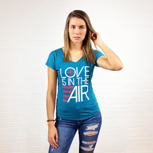 Airplane Love Is In The Air T-shirt Galapagos Blue