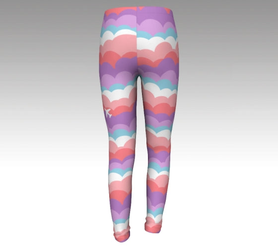 One Plane Jane signature cloud leggings for girls - back view. Fun blue, orange, pink, purple design with an airplane on the front side of right leg. Cute, comfy and fun.  Perfect for future aviators or any girls that love to be adventurous
