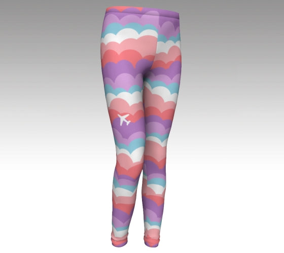 One Plane Jane signature cloud leggings for girls. Fun blue, orange, pink, purple design with an airplane on the front side of right leg. Cute, comfy and fun.  Perfect for future aviators or any girls that love to be adventurous