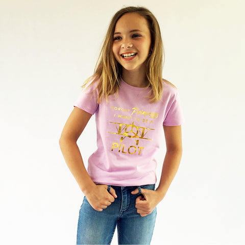 One Plane Jane Girls Tee - Forget Princess, I want to be a pilot.  Shown in lilac with gold leaf printing.
