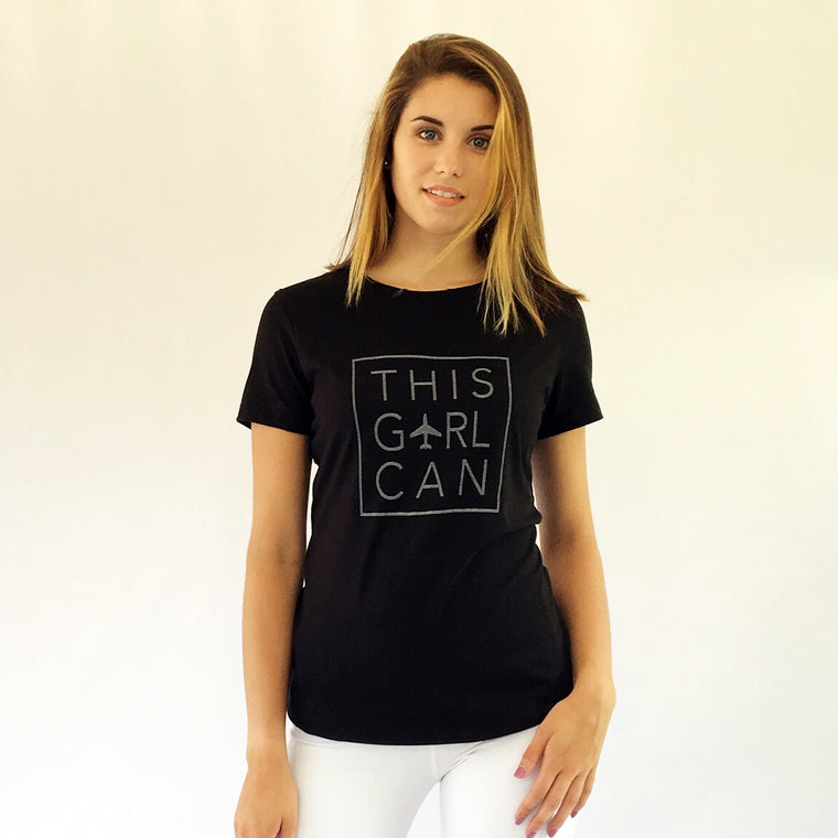 THIS GIRL CAN Cotton Tee Black