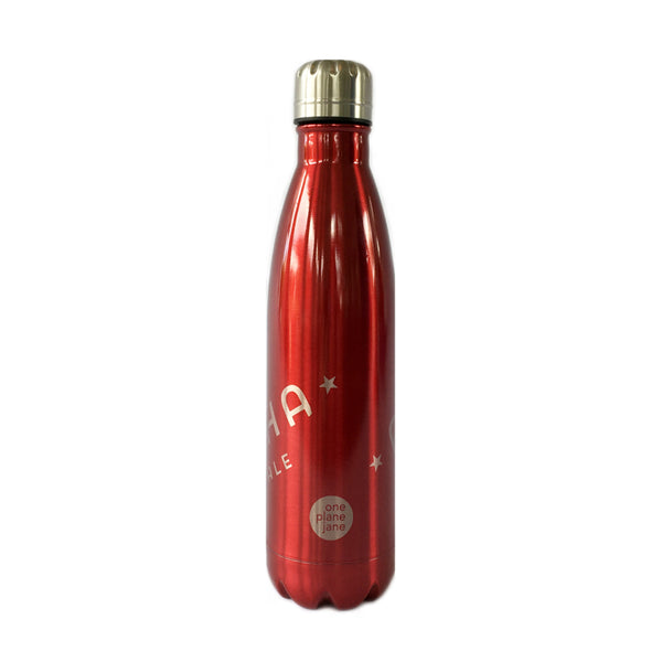 "One Plane Jane double wall stainless steel water bottle.  Coke bottle shape with screw on cap. Shown in red.  ""ALPHA FEMALE"" etched in 2 locations diagonally on bottle."