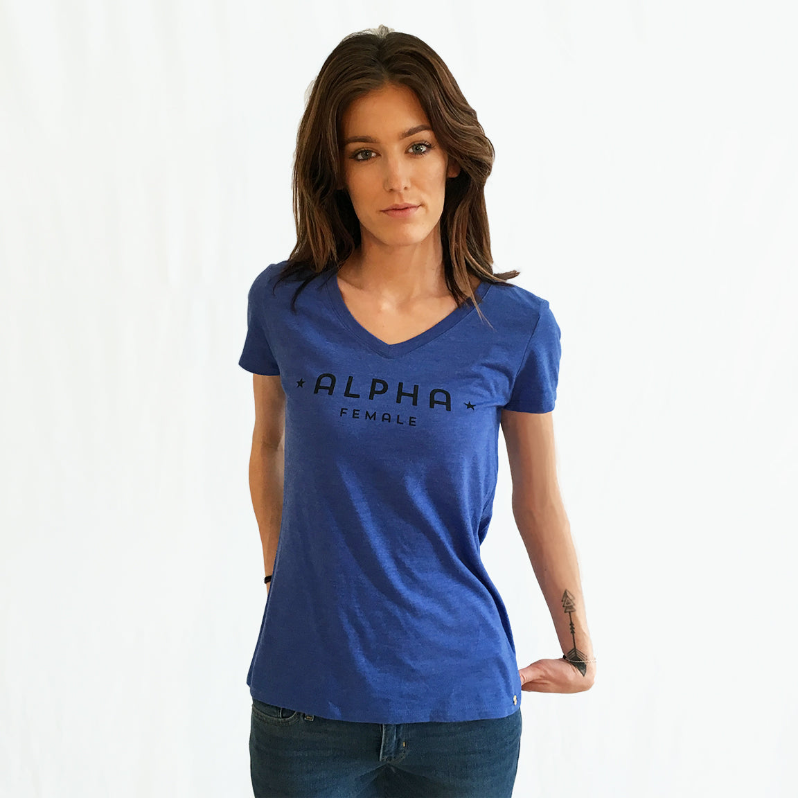 One Plane Jane Alpha Female V-Neck Tee shown in royal blue frost with black letters. Super soft tri-blend.. Inspired by pilots, aviators but perfect for all strong independent women.