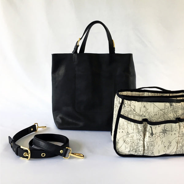 ALPHA Black Leather Pilot Flight Tote Bag with gold hardware and a removable organizer.  Detatchable shoulder strap.  Heavy duty with style.  Perfect for pilots, general aviators, or anyone that likes an organized tote bag.