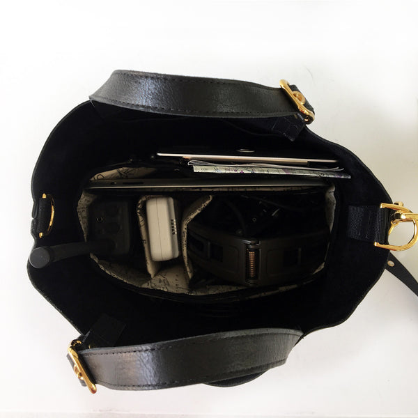 ALPHA Black Leather Pilot Flight Tote Bag with gold hardware and a removable organizer.  Inside view with organizer and pilot tools hardware accessories.  Heavy duty with style.  Perfect for pilots, general aviators, or anyone that likes an organized tote bag.