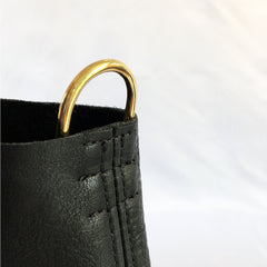 ALPHA Black Leather Pilot Flight Tote Bag with gold hardware and a removable organizer.  Dee ring detail for detatchable shoulder strap view.  Heavy duty with style.  Perfect for pilots, general aviators, or anyone that likes an organized tote bag.