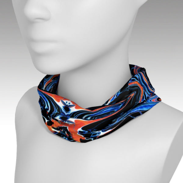 Full wrap headband with Mystic design used as a scarf.  A kaleidoscope of colors and airplanes. Use as a scarf to keep warm or a headband to keep your hair back