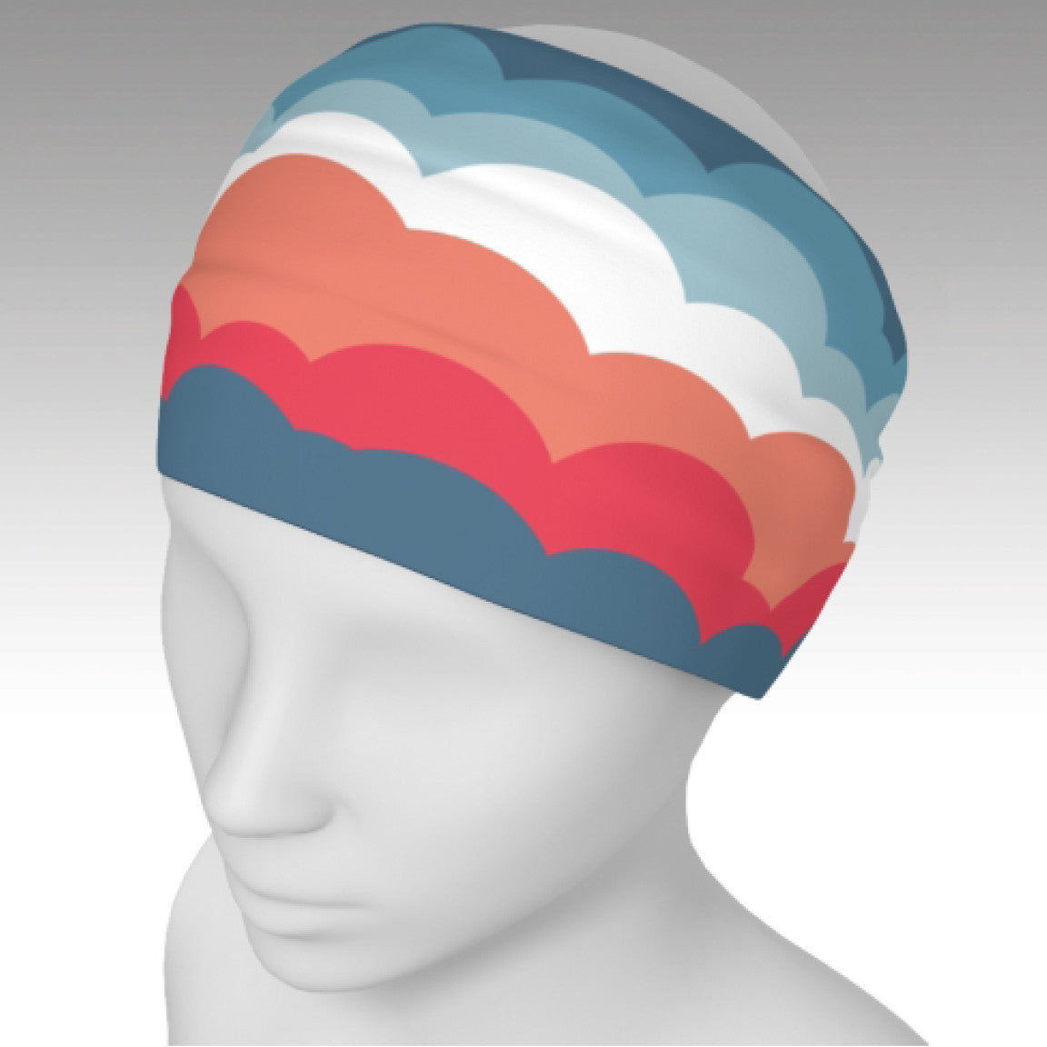 Headband with fun One Plane Jane cloud design. Coral, orange, blue, white. Full wrap around head and can be used as a scarf.  Perfect for travel, flying, pre-flight or dress up a t-shirt
