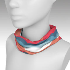 Headband used as a scarf with fun One Plane Jane cloud design.  Coral, orange, blue, white. Perfect for travel, flying, pre-flight or dress up a t-shirt