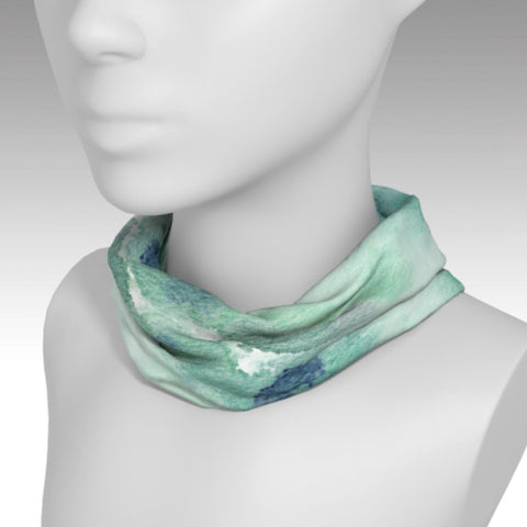 Headband with soft watercolor print of the sky / clouds used as a scarf.  Blue, green, white.  Full wrap around design. Keeps your face and neck warm.