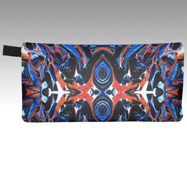 Pencil Pouch in the Mystic kaleidoscope / airplane design. Red, orange & blue. Show your love of aviation and travel. Perfect for make-up bag, coin purse, phone carrying case.