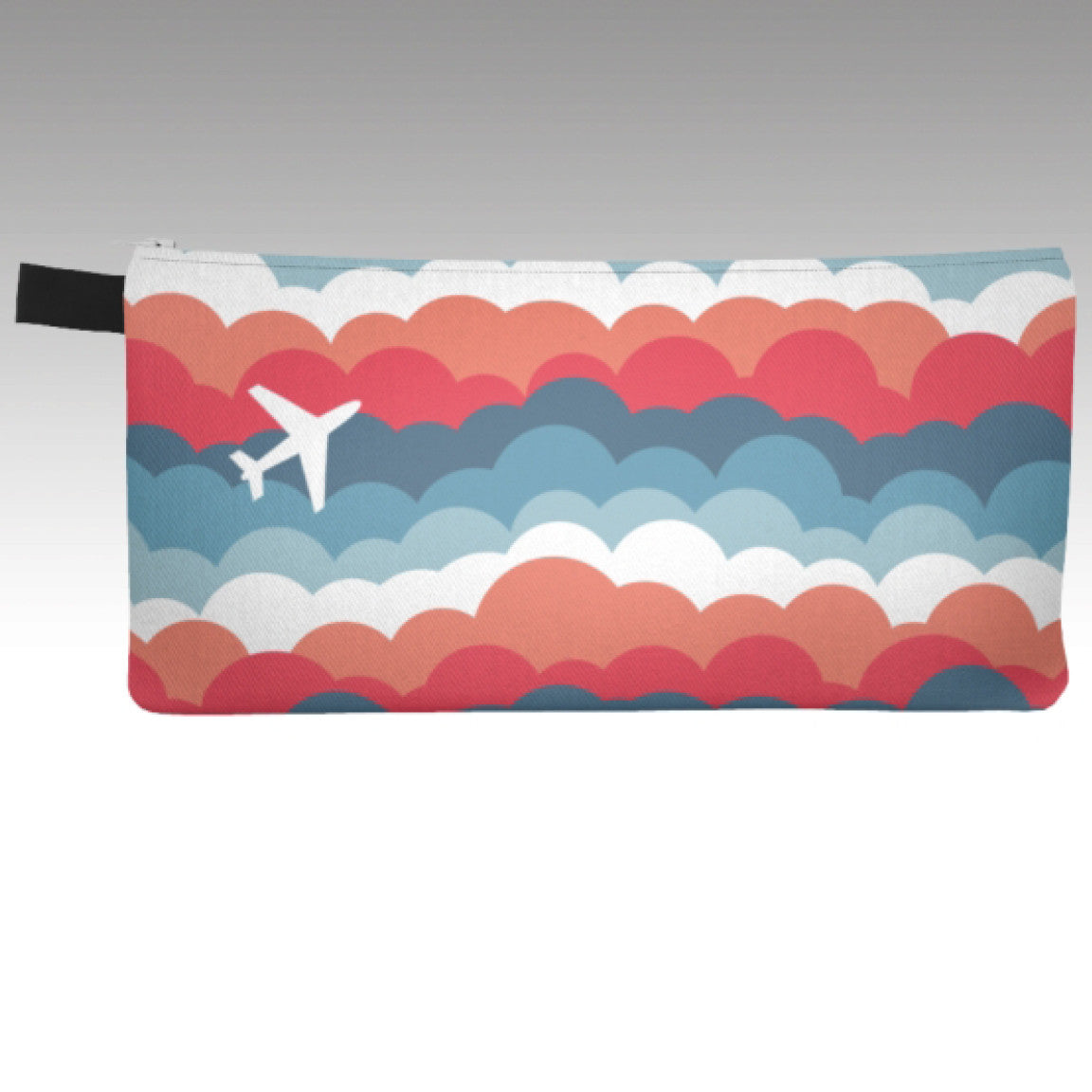 Pencil Pouch with One Plane Jane signature cloud design.  A single airplane to show your love for aviation and travel. Perfect for make-up bag, coin purse, phone carrying case.