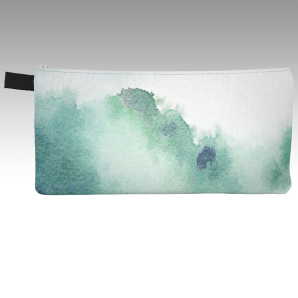 Pencil Pouch in a beautiful watercolor sky design. Soft greens and blues.  Show your love of the sky and travel. Perfect for make-up bag, coin purse, phone carrying case.