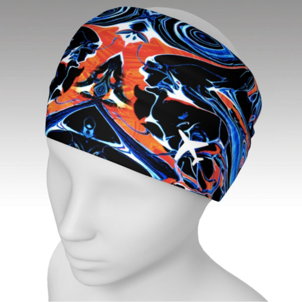 Full wrap headband with Mystic design.  A kaleidoscope of colors and airplanes. Use as a scarf to keep warm or a headband to keep your hair back