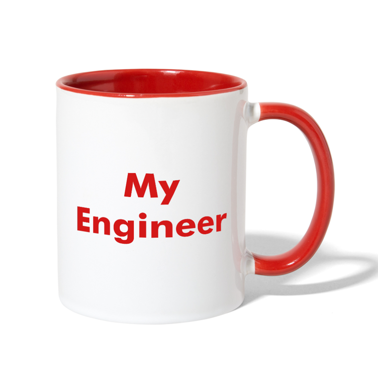 I Love My Engineer - Contrast Coffee Mug - Red