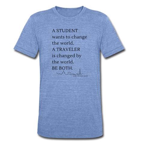 Student Traveler - Unisex Tee - heather Blue