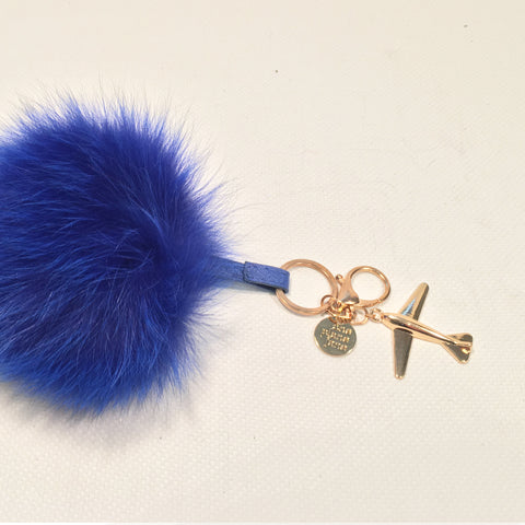 Keychain - Fox Fur Puff with Gold Airplane
