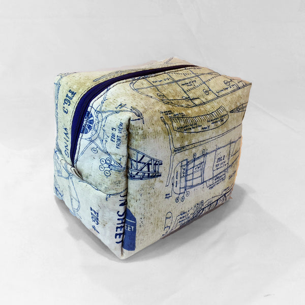 Cosmetic Bag and Travel Pouch - Airplane Blueprint