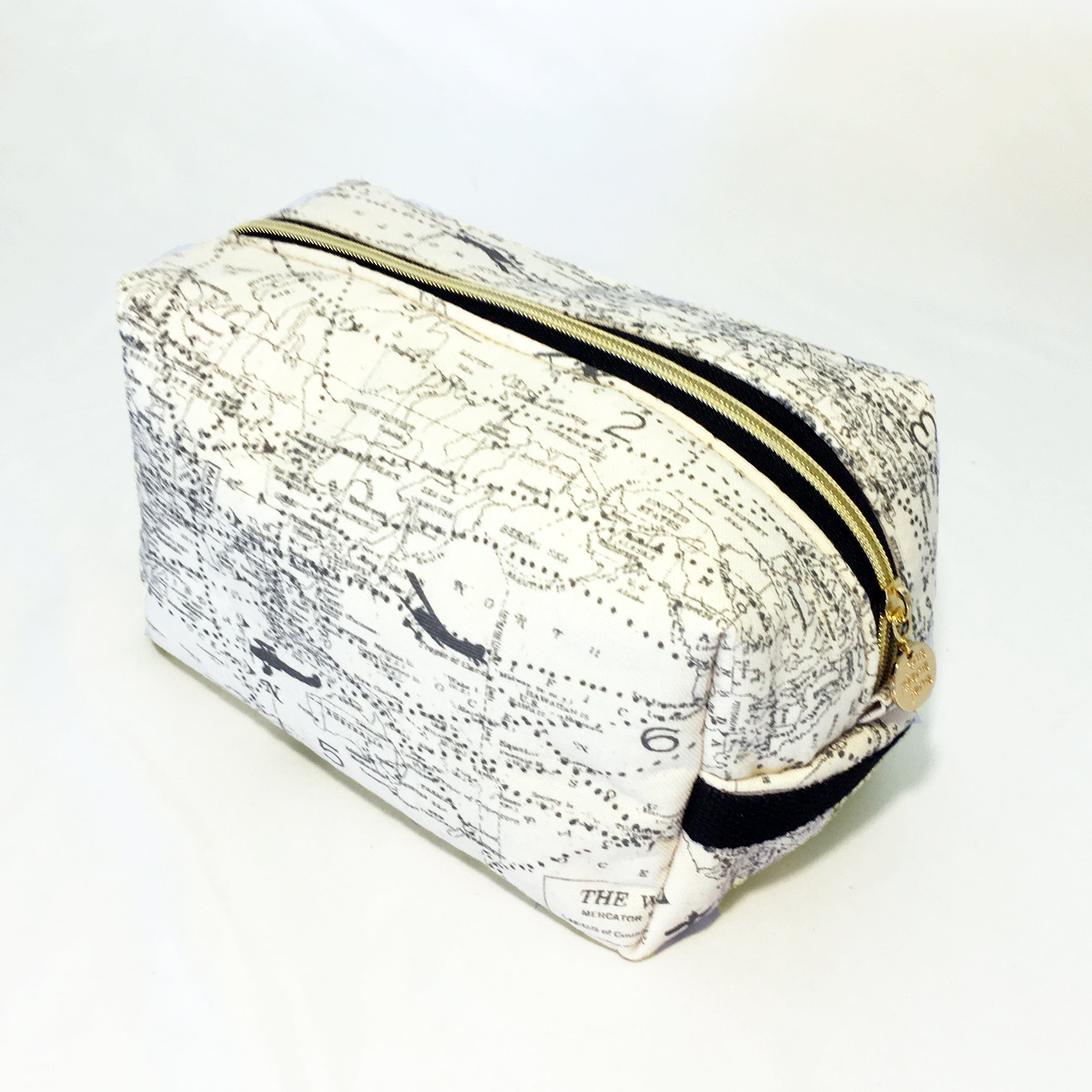 One Plane Jane Cosmetic bag and Travel Pouch. Smooth Cream fabric with world map and airplanes.  Zippered top closed.