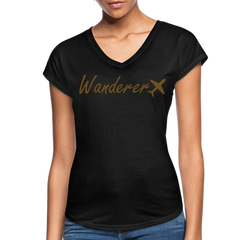 Wanderer Women's V-neck Tee - black