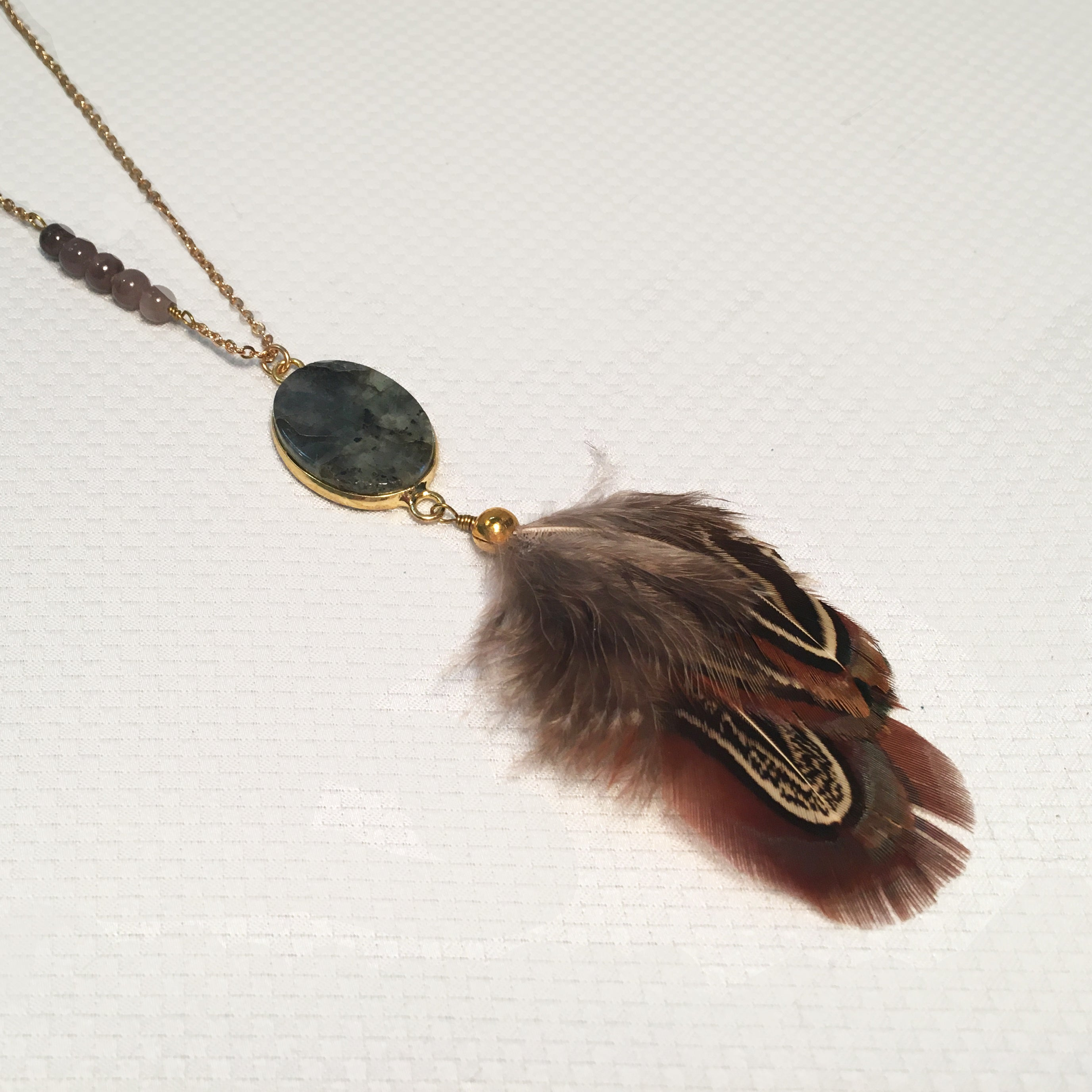 Necklace - Gold Feather Pendant