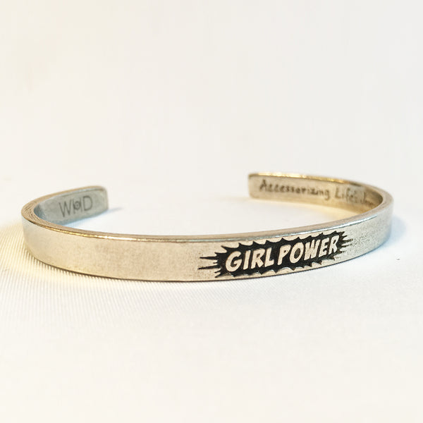 "Girl Power Pewter adjustable cuff bracelet front view. ""Girl Power"" pictured in a starburst on the face."