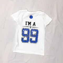 One Plane Jane I'm A Future 99 Girls T-shirt. Back view. Football jersey style with bright blue and black letters