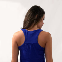 One Plane Jane Forget Princess I Want To Be A Pilot Tank Top back view. Shown in royal blue.  With gathers in the back.
