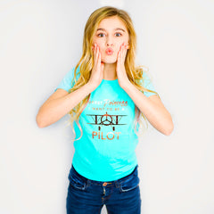 One Plane Jane Girls Tee - Forget Princess, I want to be a pilot.  Shown in cancun blue with gold leaf printing.