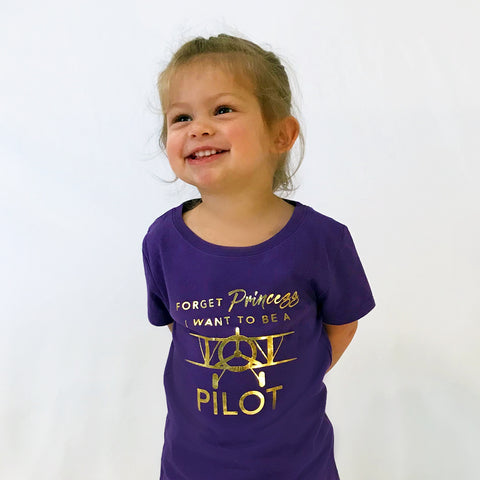 I WANT TO BE A PILOT Girls Tri-Blend Tee Purple Rush