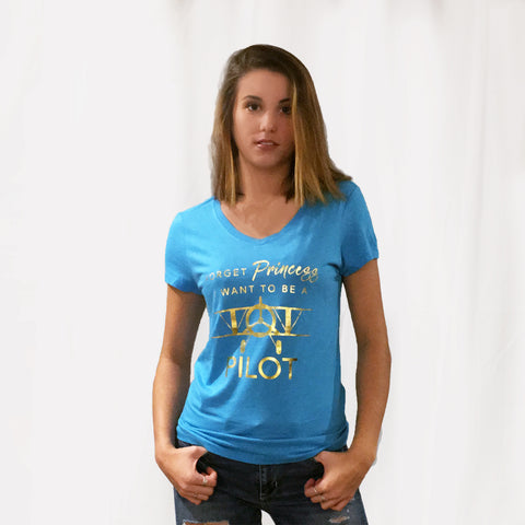 One Plane Jane Woman's Tee - Forget Princess, I want to be a pilot.  Includes a biplane and shown in light blue heather blue with gold leaf printing.
