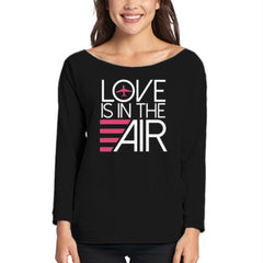 Airplane Love Is In The Air T-shirt 3/4 sleeve French Terry Black