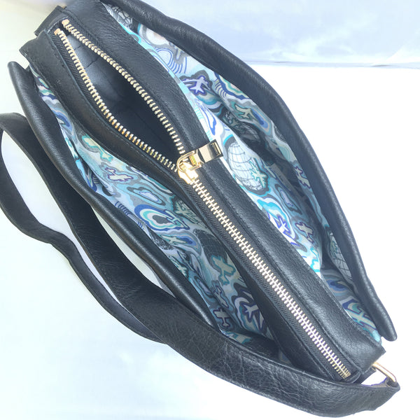 Charlie Leather Crossbody with Airplane Print Interior